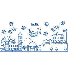France lyon winter city skyline merry christmas vector