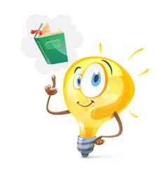 Funny idea lamp and book vector