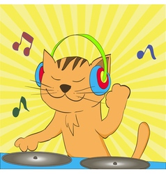 ginger tabby cat wearing headphones spinning music vector image vector image
