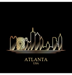 Gold silhouette of Atlanta on black background vector image