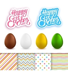 Happy easter greeting cards creation kit vector