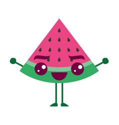 Kawaii cartoon watermelon fruit funny character vector