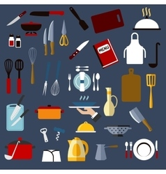 Kitchen utensil and dishware flat icons vector