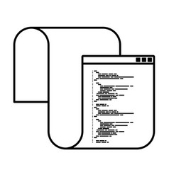Monochrome silhouette of programming window with vector