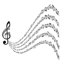 music background with clef and notes on white vector image