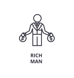 rich man line icon outline sign linear symbol vector image vector image