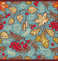 Seamless pattern deciduous autumn leaf ornament vector