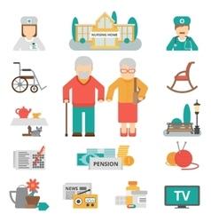 Senior lifestyle flat icons set vector