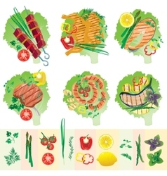 Set of grilled meat and vegetables vector
