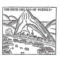 Small mountain town vintage vector