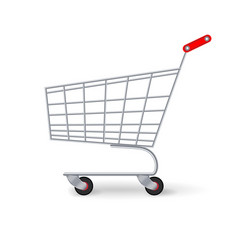 Supermarket shopping cart empty classic vector