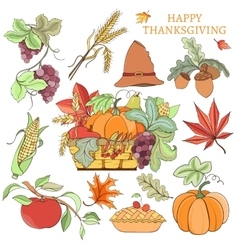 Thanksgiving holiday set vector