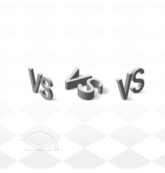 Versus letters logo grey v and s isometric symbol vector