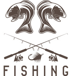 Vintage fishing design template with largemouth vector