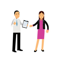 young businesswoman and bank consultant standing vector image vector image
