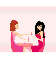 Young lady doing manicure in beauty salon vector image vector image