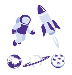 Space and planet icons blue set vector