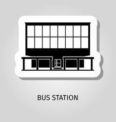 Bus station building web sticker vector