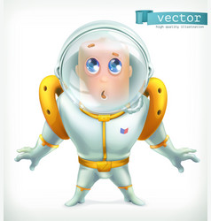 Astronaut in spacesuit funny character icon 3d vector