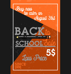 Color vintage back to school sale banner vector