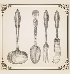 set of cutlery doodle style vector image