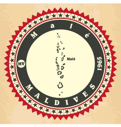 Vintage label-sticker cards of maldives vector