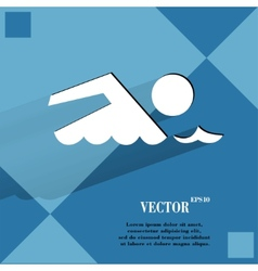 Swimmer pool flat modern web design on a flat vector