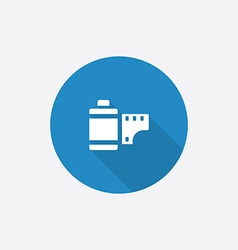 Photo film flat blue simple icon with long shadow vector