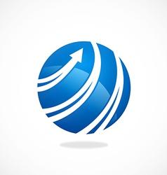 globe arrow swirl communication logo vector image