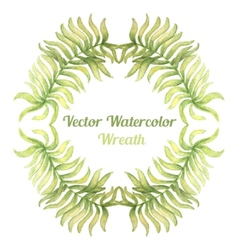Watercolor wreath with palm tree branches vector
