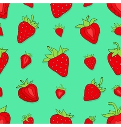 Seamless pattern set red strawberries vector