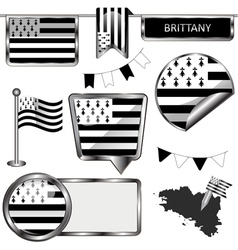 Glossy icons with brittany flag vector