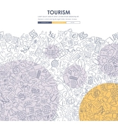 Tourism doodle website template design vector