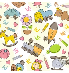 Seamless pattern with kids drawings vector