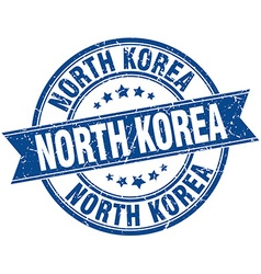 North korea blue round grunge vintage ribbon stamp vector