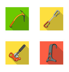 An ice ax a carbine and other equipment vector