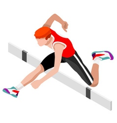 Athletics hurdle jump 2016 sports 3d vector