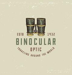 Binocular logo emblem or label monocular vintage vector