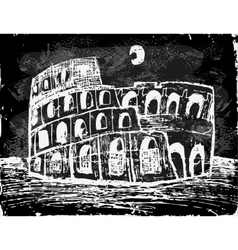Coliseum at night vector image vector image