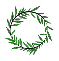 Color image decorative crown of elongated leaves vector