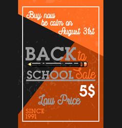 color vintage back to school sale banner vector image vector image