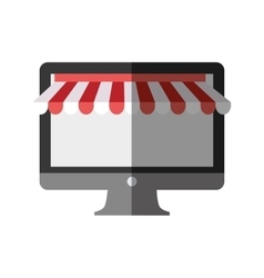 Computer shopping online color shadow vector