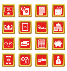 Credit icons set red vector
