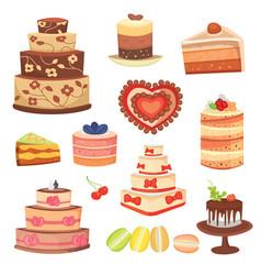 different wedding cream birthday cake pie vector image vector image