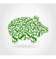 dollar pig vector image