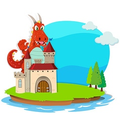 Dragon destroying the castle vector