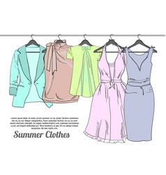 drawing summer woman clothes on vector image vector image