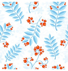 Floral seamless pattern with winter ash berry vector image