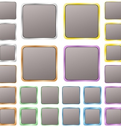 Grey blank square metal button set vector image