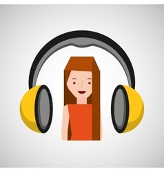Headphones music character girl vector